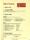 Careers and the MBA