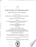 The Voyage of Nearchus from the Indus to the Euphrates, Collected from the Original Journal Preserved by Arrian ...