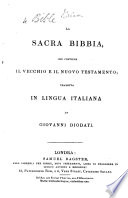 La Sacra Bibbia     tradotta     da G  Diodati