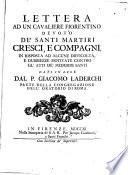 Lettera Ad Un Cavaliere Fiorentino Devoto de Santi Martiri Cresci