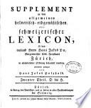 SUPPLEMENT zu dem allgemeinen helvetisch-eidgenößischen, oder schweizerischen LEXICON.