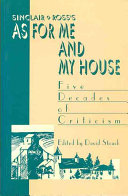 Book Sinclair Ross's As for Me and My House