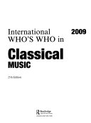 International Who s Who in Classical Music 2009