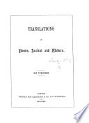 Translations of Poems, ancient and modern