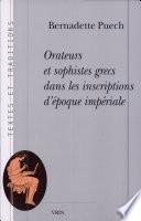illustration Orateurs et sophistes grecs dans les inscriptions d'époque impériale