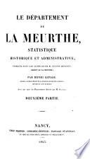 Le D  partement de la Meurthe  Statistique historique et administrative