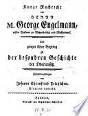Kurze Nachricht von Herrn M. George Engelmann ... zu der besondern Geschichte der Oberlausitz (etc.)
