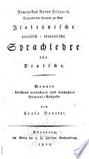 Dominikus Anton Filippi's ... Italiänische practisch-theoretische sprachlehre für Deutsche