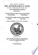 De admirabili Operum Antiquorum     praestantia
