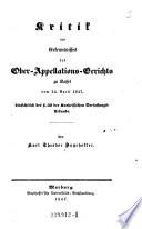 Kritik des Erkenntnisses des Ober-Appellations-Gerichts zu Kassel vom 24. April 1847, hinsichtlich des § 30 der Kurhessischen Verfassungs-Urkunde