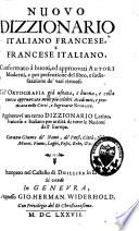 Nuovo dizzionario italiano francese e francese italiano