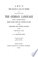 Ahn s New Practical and Easy Method of Learning the German Language