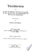 Die Praxis der Naturgeschichte: Th. Taxidermie ... 3. Aufl. von C. L. Brehm.