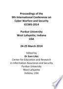 ICCWS2014  9th  International Conference on  Cyber  Warfare   Security