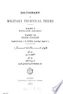 Dictionary of military technical terms  Pt 1  English Arabic  pt 2  Arabic English