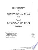 Dictionary of Occupational Titles