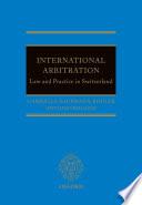 International Arbitration  Law and Practice in Switzerland