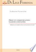 illustration du livre Droit et communication