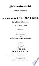 Jahresbericht ub  er die Fortschritte der gesammten Medicin in allen L  ndern