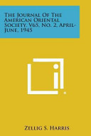 The Journal of the American Oriental Society  V65  No  2  April June  1945