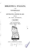 Biblioteca italiana ossia giornale di letteratura, scienze ed arti