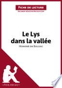 Le Lys dans la vall  e d Honor   de Balzac  Fiche de lecture