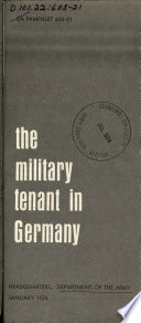 The Military Tenant in Germany Book PDF