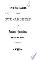 Inventaris van het oud-archief der gemeente Oosterhout
