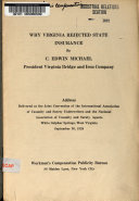 Why Virginia Rejected State Insurance Book PDF