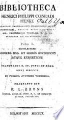 Bibliotheca H P C Henke Pars I Pr Fatus Est P J Bruno