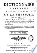 Dictionnaire raisonn   de toutes les parties de la Physique