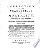 A Collection Of The Yearly Bills Of Mortality From 1657 To 1758 Inclusive