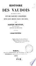 Histoire des Vaudois des vallées du Piémont