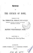 Letters on the Church of Rome, addressed to the rev. Emmanuel Feraut