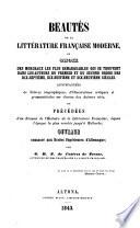 Beautés de la littérature française moderne