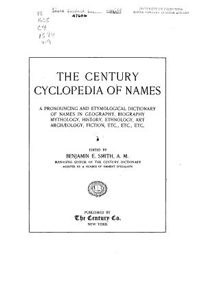 The Century Dictionary and Cyclopedia: The century cyclopedia of names