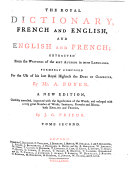 Book THE ROYAL DICTIONARY, FRENCH AND ENGLISH, AND ENGLISH AND FRENCH