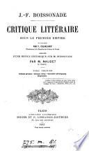 Critique litt  raire sous le premier empire  publ  par F  Colincamp