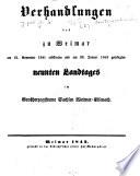 Verhandlungen des     Landtags und der Gebietsvertretung von Sachsen Weimar Eisenach