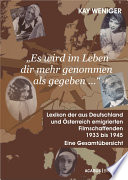 Es wird im Leben dir mehr genommen als gegeben      Lexikon der aus Deutschland und    sterreich emigrierten Filmschaffenden 1933 bis 1945