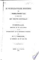 De wetenschappelijke beoefening der Nederlandsche taal in verband met het nieuwe doctoraat