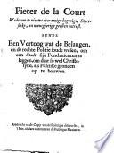 Pieter de la Court wederom op nieuws door eenige begerige, ..