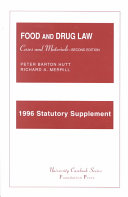 Hutt and Merrill's Statutory Supplement to Accompany Food and Drug, 2D