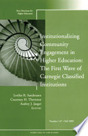 Institutionalizing Community Engagement in Higher Education  The First Wave of Carnegie Classified Institutions