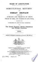 Agricultural returns for Great Britain showing the acreage and produce of crops prices of corn  and number of livestock together with summaries of agricultural statistics for United Kingdom  British Possessions and foreign countries