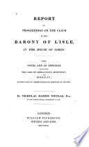 Report of Proceedings on the Claim to the Barony of L Isle