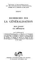 Recherches sur la généralisation