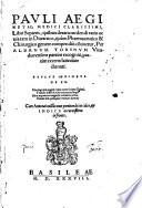Pauli Aeginetae Libri septem