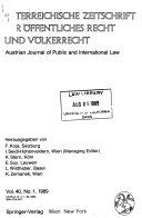 Österreichische zeitschrift für öffentliches recht und völkerrecht