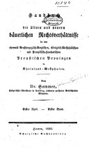 Handbuch über die ältern und neuern bäuerlichen rechtsverhältnisse in den ehemals grossherzoglich-bergischen, königlich-westphälischen und französischhanseatischen preussischen provinzen in Rheinland-Westphalen ...